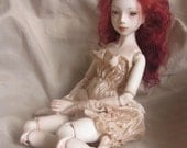 """Ooak Porcelain Ball Jointed Doll  BJD art doll by Kelly Salchli, red hair, floral """"tatoo"""""""