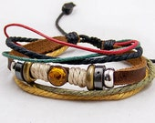 Womens mens Leather bracelet  Bead Metal  Bracelet with cotton Rope Adjustable A0241