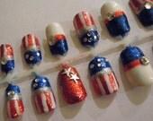 USA Nails, Japanese 3D Nail Art, Hand Painted, Nail Design, Artificial Nails, False Nails, Fake Nails, Press On Nails