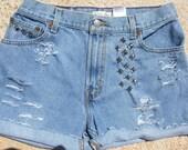 High Waisted Shorts, Levi Shorts, Distressed Shorts, Cut Off Shorts, Short Shorts, Studded Shorts -  Large