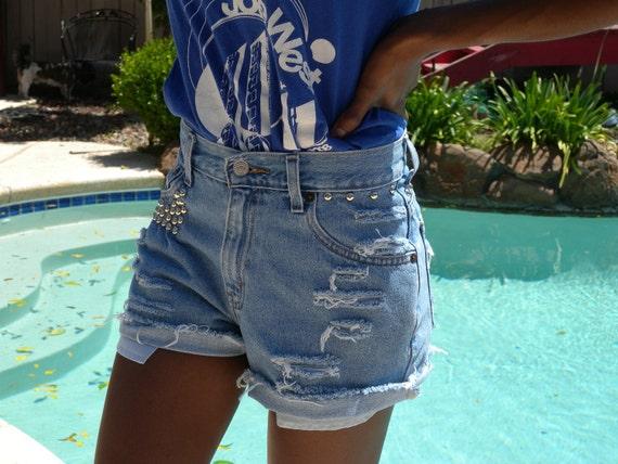 "Vintage High Waisted Shorts, Levi Shorts, Distressed Shorts, Studded Shorts, Short Shorts, Cut Off Shorts - Waist 26"""