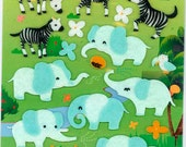Korean Scrapbook Felt Stickers, Smiling elephants, zebras and hedgehogs (STSM03025)