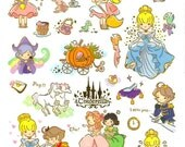 Korean Scrapbook Gold Foil Transparent Stickers - Cinderella's Story (STNO05009)