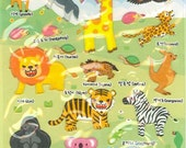 Korean Scrapbook Die-cut Puffy Stickers, Safari animal (STPU03009)