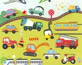 Korean Scrapbook Die-cut Puffy Stickers, Colorful Vehicles (STPU03012)