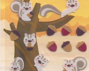 XMAS PROMO Korean Scrapbook Felt Stickers, Cute Brown Squirrels (STSM03001)