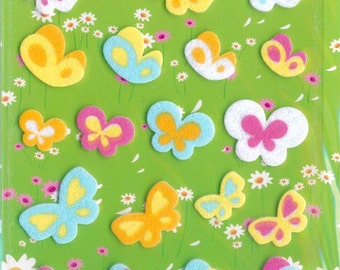 XMAS PROMO Korean Scrapbook Felt Stickers, Rainbow butterflies (STSM03005)
