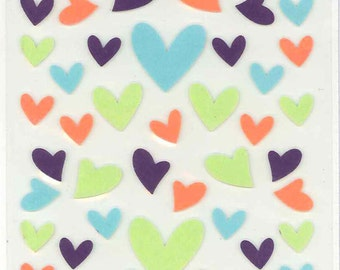 Korean Scrapbook Die-cut Felt Stickers, Sweet Hearts in retro color (STSM03022)