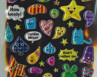 Korean Scrapbook Die-cut Puffy Twinkle Stickers, Colorful Greeting messages(STPU03015)