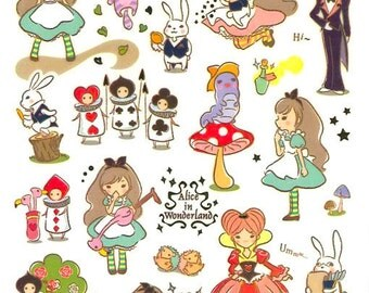 Korean Scrapbook Gold Foil Transparent Stickers - Alice in Wonderland (STNO05010)