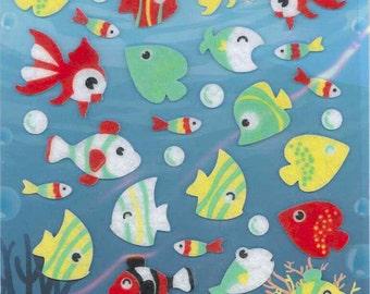 Korean Scrapbook Die-cut Felt Stickers, Colorful Fish (STSM03042)