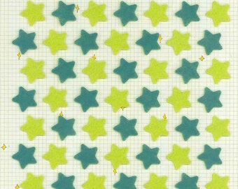Korean Scrapbook Die-cut Felt Stickers, Twinkle stars in green (STSM03045)