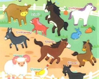 Korean Scrapbook Die-cut Puffy Stickers, Farm animal (STPU03007)
