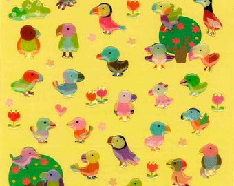 Korean Scrapbook Die-cut Epoxy Stickers, Colorful Birds (STSM03060)