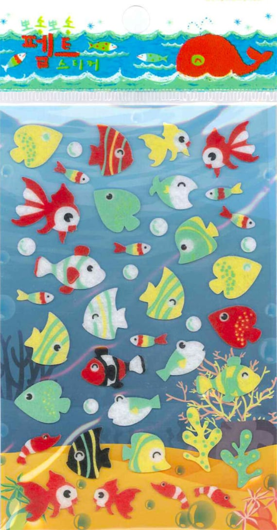 Korean Scrapbook Die-cut Felt Stickers, Colorful Fish (STSM03042)