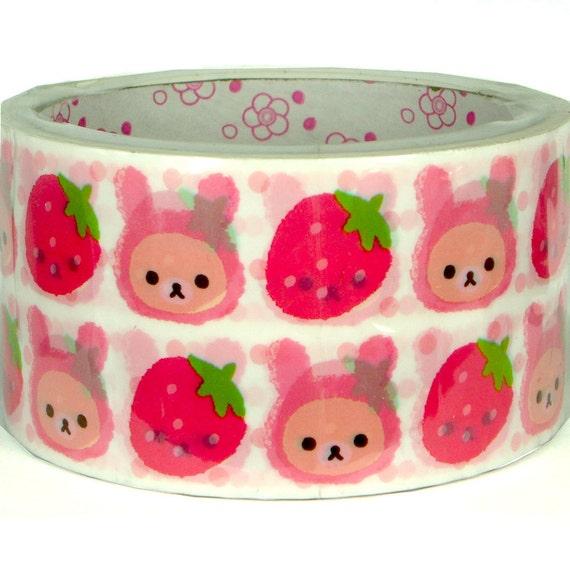 Kawaii masking deco tape (15M), Strawberry Rilakkuma(DTMA01101)