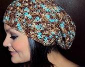Unisex Brown & Blue Multi Crochet Adult Slouchy Hat