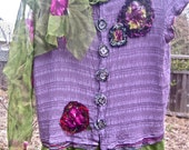 CP SHADES Lilac Top, Altered Couture, Frida Kahlo Style Hand Dyed Tunic, Handmade Gypsy Boho Top, Funky Textured Shabby Chic, Eco Friendly