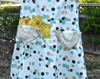 RETRO GIRLY SUNDRESS, Girly Beach Summer, Crinoline Slip, Upcycled Eco Cotton, Vintage Lace Pockets, Dancing Polka Dots, Sweetheart Neckline