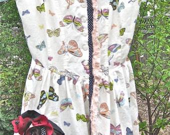 SALE: BO-PEEP Mini Sundress, Handmade Costume, Repurposed Shabby Chic, Eco Cotton, Sm