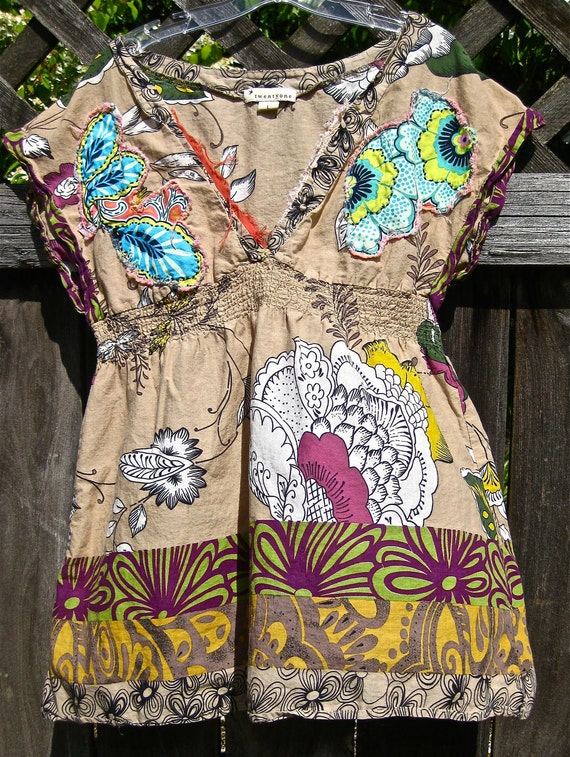 DR. SEUSS-ish Tattered V-Neck TOP, Beach, Summer, Teen Girls, Women, Small, Medium, Upcycled, All Cotton Eco-friendly