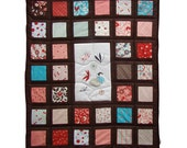 Fairy tale modern lap quilt/ giddy for moda/ appliqued & embroiderd baby - toddler window quilt