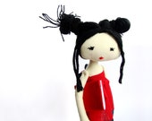 """A K I K O -  Japanese Beauty 11,5"""" ooak handmade cloth doll, comes in a gift box MADE TO ORDER"""