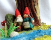 Needle Felted Waldorf inspired Gnome couple