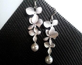 Orchid Earrings, Pearl Earrings, Flowers Dangle Earrings ,Drop earrings,bridesmaid gifts,Wedding Earrings,mother's day gift