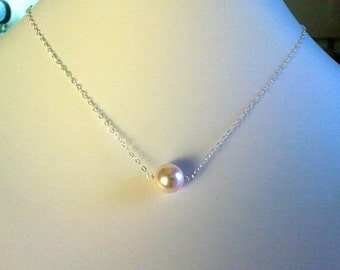 Light Pink Pearl Pendant, Charm,Necklace in Sterling Silver. - cute,simple, modern, everyday jewelry, friendship gift