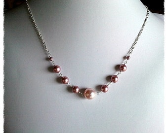 Pink Pearl charm Necklace, charm, pendant, lariat, wedding, necklace,