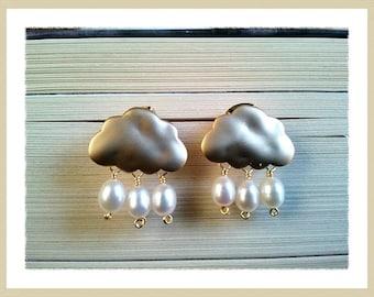 Cloud Post Earrings, Cloud with Pearl Stud Earrings -Drop, Dangle,Earrings, post earrings, Studs Earrings, Pearl Earrings, Christmas Gifts