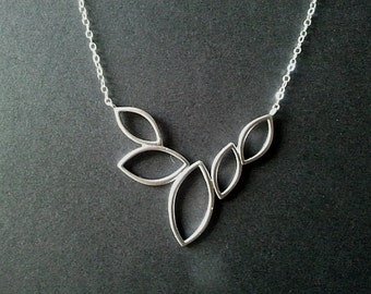 5 Marquise Leaves Silver pendant, Necklace, Leaves Charm, Wedding Jewelry, simple, christmas gift, cocktail jewelry