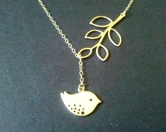 Gold Bird and Branch Lariat Necklace -Mother's day gift, Bird charm, Leaf Pendant, wedding jewelry,christmas gift, cocktail jewelry