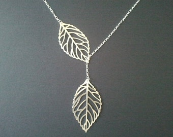 Leaf necklace, Autumn Leaves Statement necklace, pendant, Lariat  personlized necklace, Bridal Jewelry,  Gift