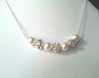 Wedding Necklace, Wedding Jewelry, White Pearl Necklace,Beadwork, Bib, Bridal Jewelry,Bridesmaid Gift, cocktail,statement Set ,Gift