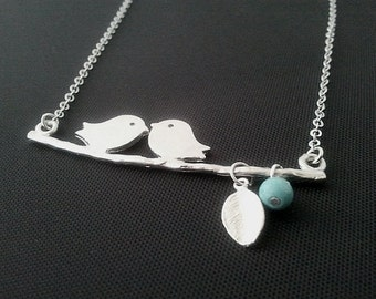 A Couple of Lovely Birds charm, necklace , Bird pendant, Lariat Necklace,christmas gift, cocktail jewelry