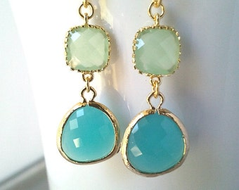 Mint Blue Gold Dange earrings, Mint Wedding Earrings, Drop, bridesmaid gifts,dangle, Turquoise blue earrings