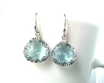 Something Blue Glass Silver Drop Earrings, Dangle earrings, wedding Earrings,christmas gift, cocktail jewelry