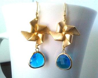 Pinwheel with Blue Sapphire Gold  Earrings - dangle, glass, drop,Lovely Gift,Wedding jewelry