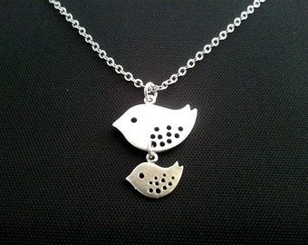 Mommy and Baby Bird pendant,  Necklace -  bridesmaid gifts,Wedding jewelry,mother necklace, mother's day gift