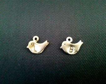 Add Initial mini bird charm -  Silver