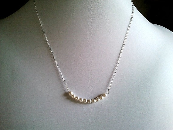 Pearl Necklace, white pearl Strand Necklace  Delicate Pearl Necklace Simple Pearl Bar Necklace, 14k Gold fill Chain or Sterling