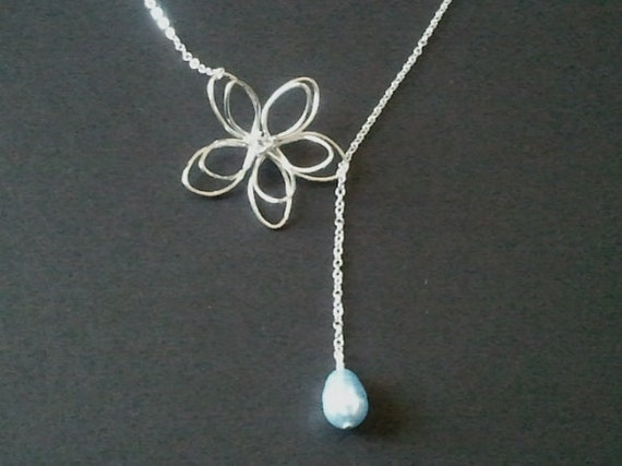 Wedding Gift Necklace: Lariat Flower With Light Blue Pearl Wedding Necklace