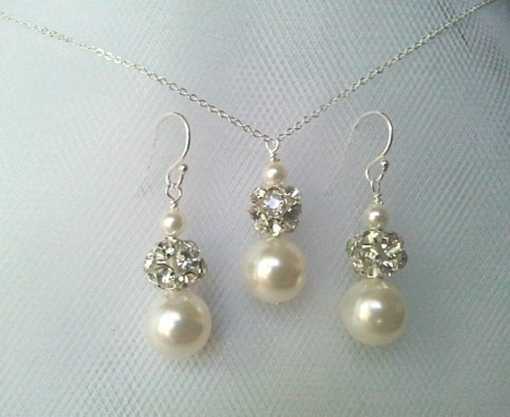 Wedding Jewelry, Bridal Necklace and Earrings Set, Bridesmaid Necklace,Bridesmaid Jewelry Bridesmaid Gift , christmas gift