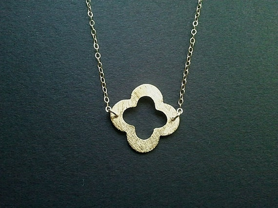 Gold Clover Quatrefoil Pendant, Necklace, clover charm, Best friend Gift -wedding jewelry, St. Patrick's Day