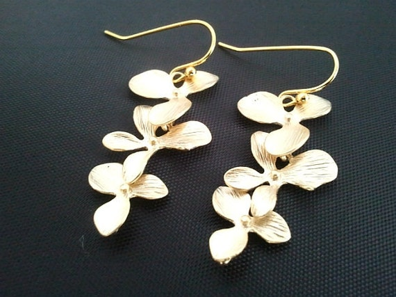 Dangling Triple Orchids Flowers Drop Earrings, Dangle, bridesmaid gifts,Wedding jewelry,christmas gift, cocktail jewelry