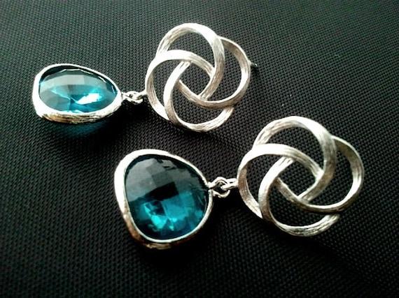 Pinwheel with Blue zircon silver Drop Earrings, Love Knot,Dangle earrings, wedding Earrings  christmas gift, cocktail jewelry