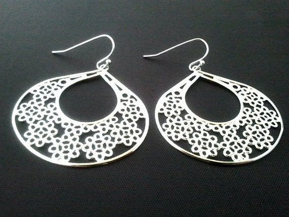 Drop in Drop Earrings,Silver Drop, Dangle, Earrings