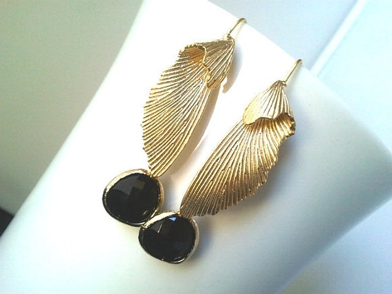 Angel's Wing Gold Earring, Drop, Dangle, Glass Earrings, bridesmaid gifts,Wedding jewelry